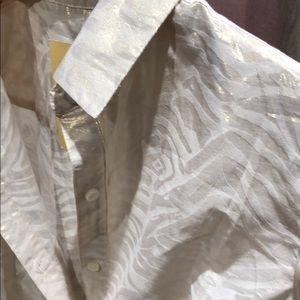 Metallic zebra Button down shirt longsleeve